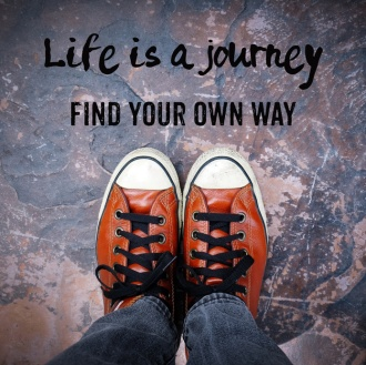 Life is a journey, Find your own way, Inspiration quote, shoes on pavement